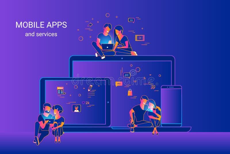 Линия иллюстрация градиента вектора людей используя устройства и наслаждающся дизайном ux и ui Пары используя перекрестную платфо бесплатная иллюстрация