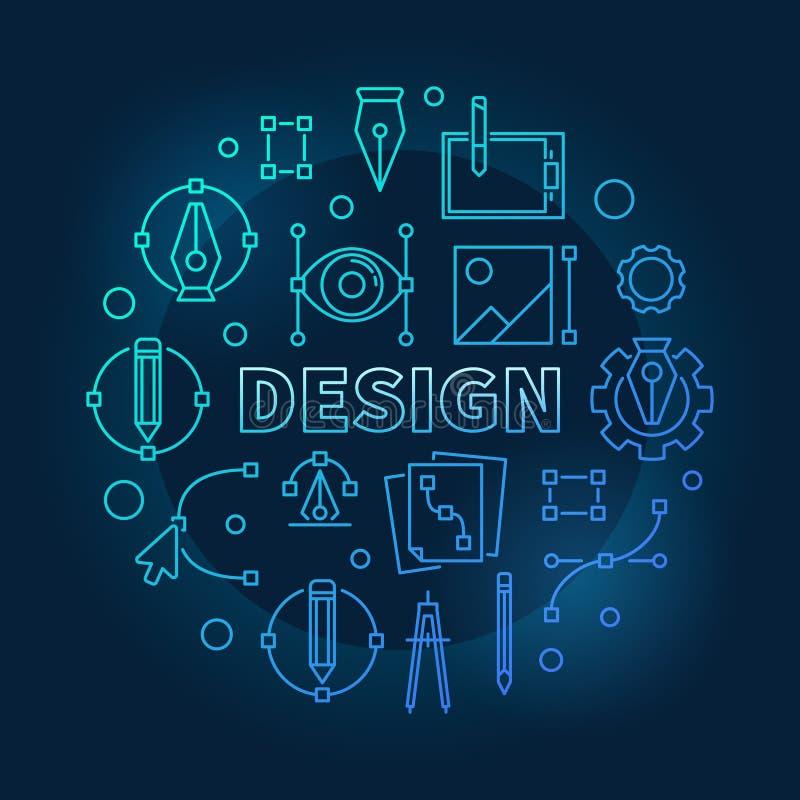Линия иллюстрация дизайна круглая голубая тонкая подпишите вектор иллюстрация штока