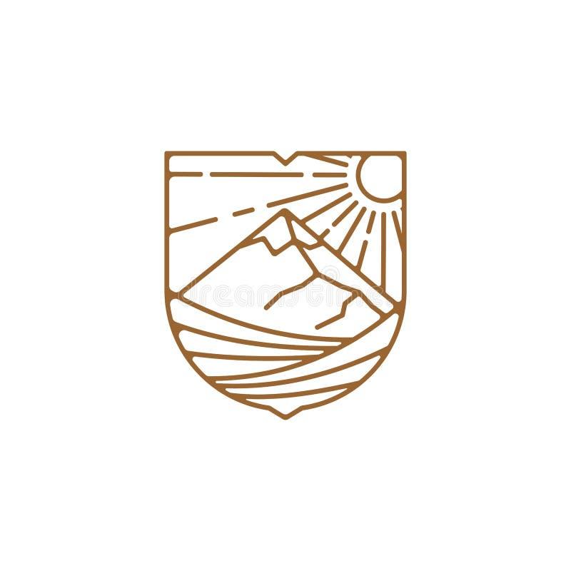 Линия иллюстрация дизайна логотипа виноградника искусства, дизайн логотипа горы иллюстрация вектора
