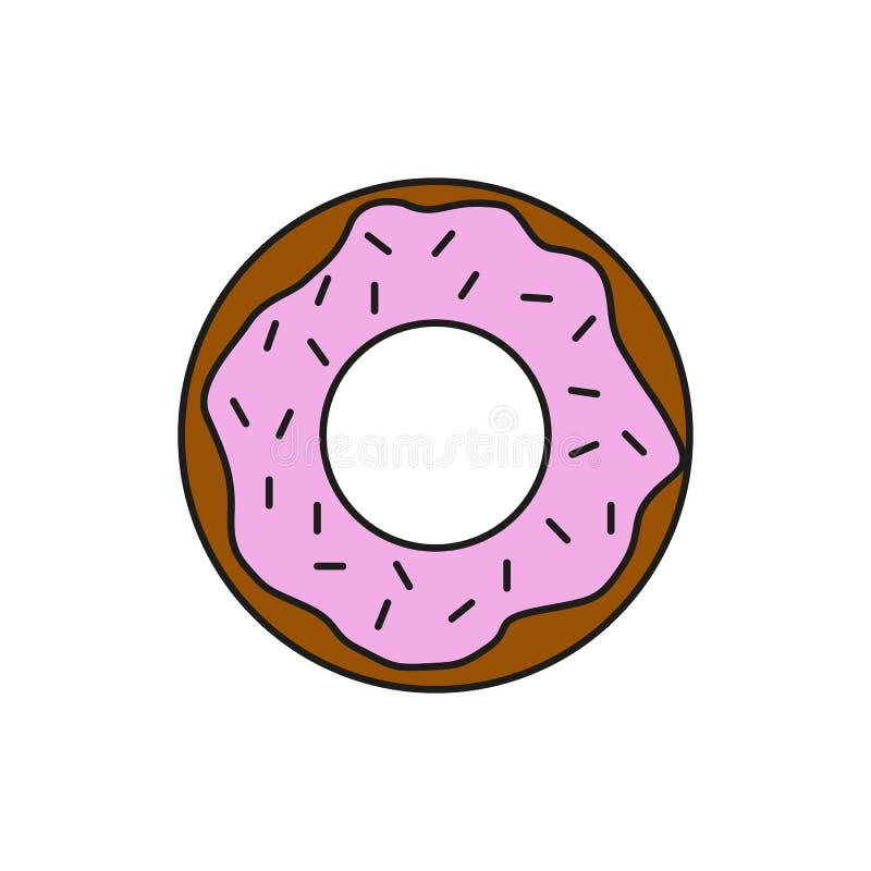 Линия иллюстрация еды донута клубники шоколада тонкая значка иллюстрация штока