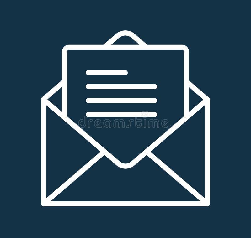 Линия иллюстрация значка сообщения письма почты вектора символа искусства иллюстрация вектора