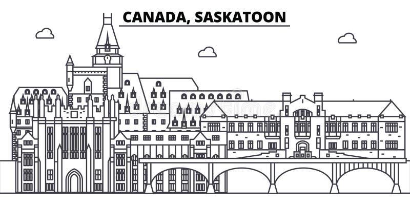 Линия иллюстрация Канады, Саскатуна вектора горизонта Канада, городской пейзаж с известными ориентир ориентирами, город Саскатуна иллюстрация штока