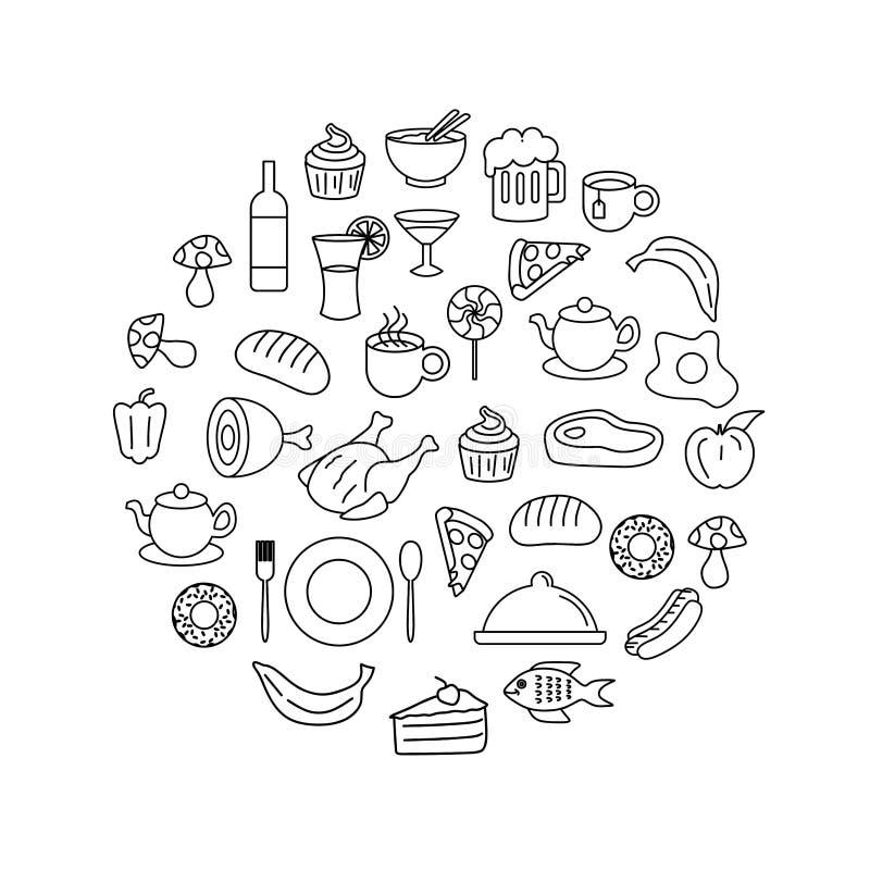 Линия иллюстрация круга doodle еды и напитка вектора чертежа искусства иллюстрация вектора