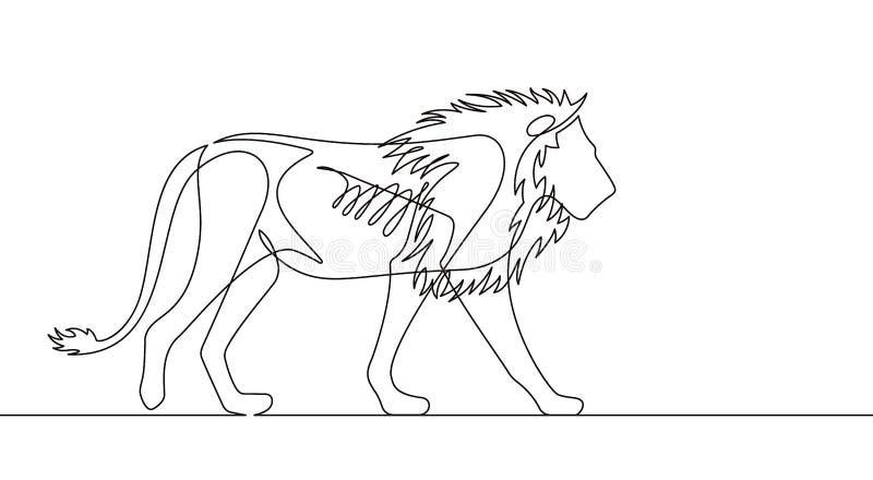 Линия иллюстрация льва непрерывная вектора иллюстрация вектора