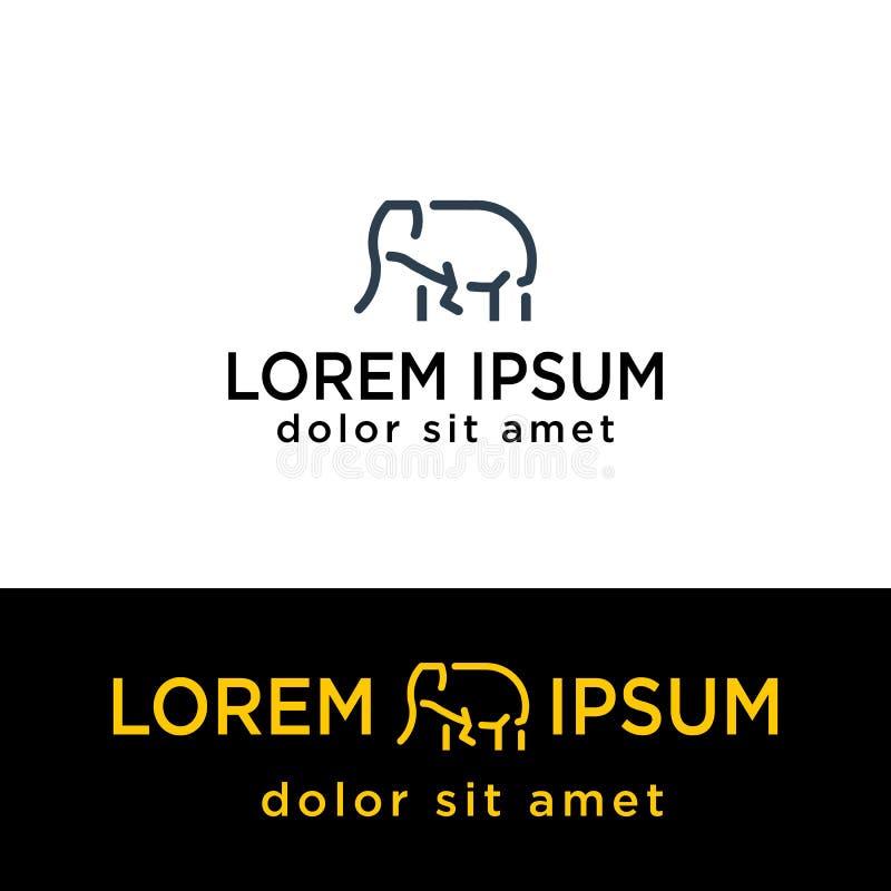 линия иллюстрация слона вектора шаблона логотипа, элементы значка иллюстрация штока