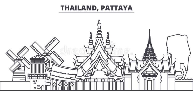 Линия иллюстрация Таиланда, Паттайя вектора горизонта Таиланд, городской пейзаж с известными ориентир ориентирами, город Паттайя  иллюстрация вектора