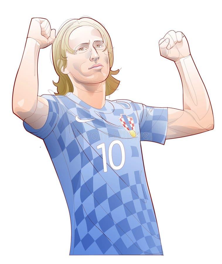 Линия иллюстрация футболиста Luka Modrić иллюстрация штока