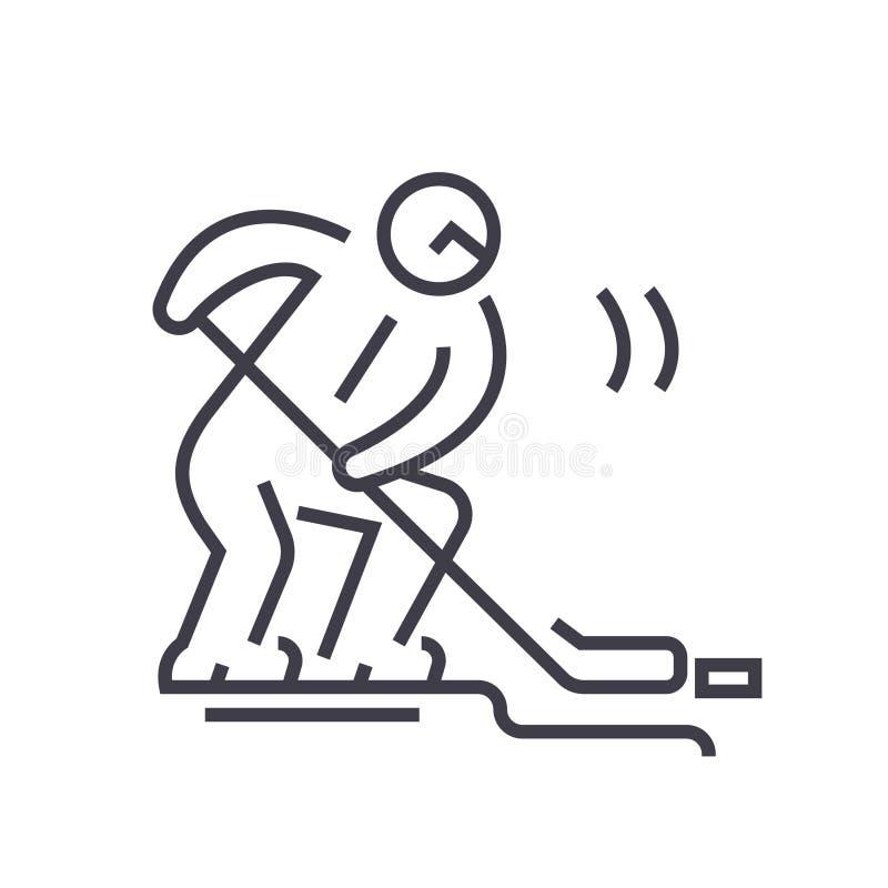 Линия иллюстрация хоккеиста плоская, вектор концепции изолировала значок на белой предпосылке иллюстрация вектора