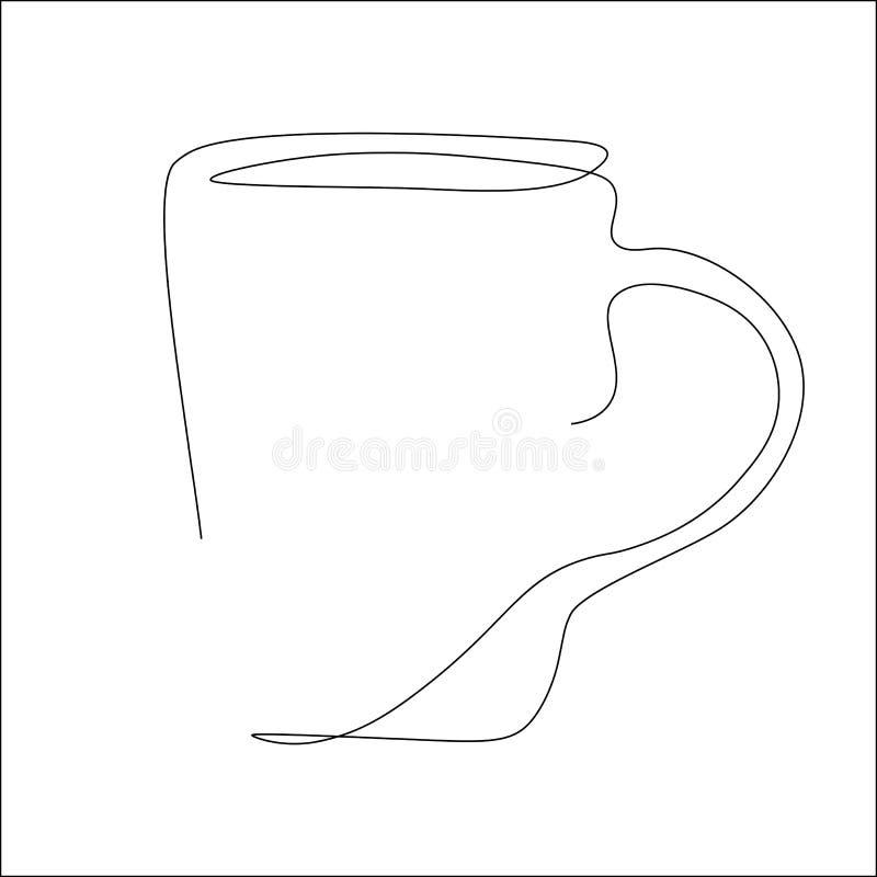 Линия иллюстрация чашки чаю одного вектора чертежа иллюстрация штока