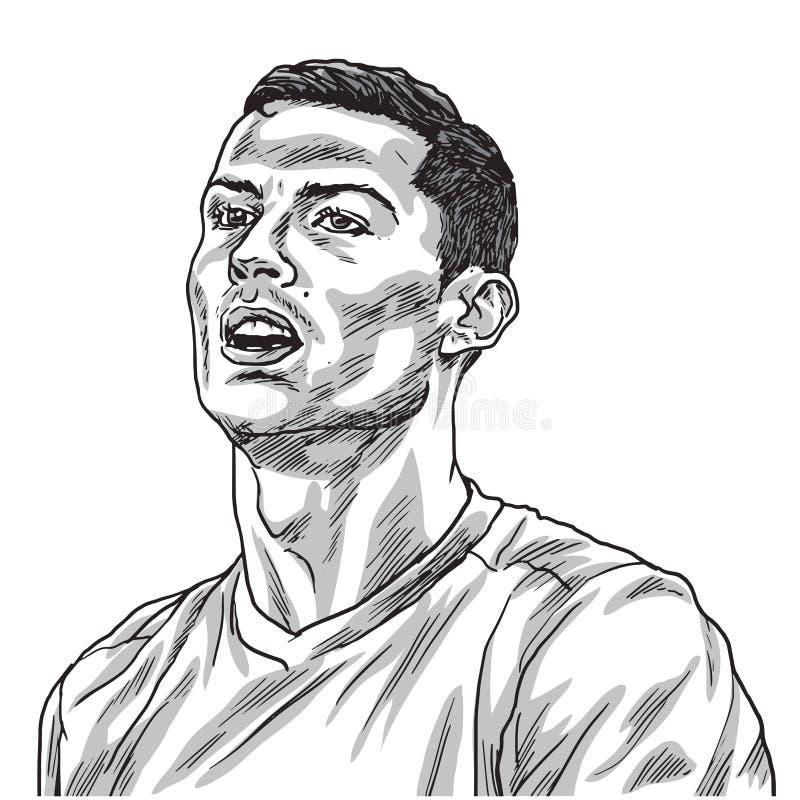 Линия иллюстрация чертежа портрета вектора Cristiano Ronaldo Турин, 27-ое августа 2018 иллюстрация штока