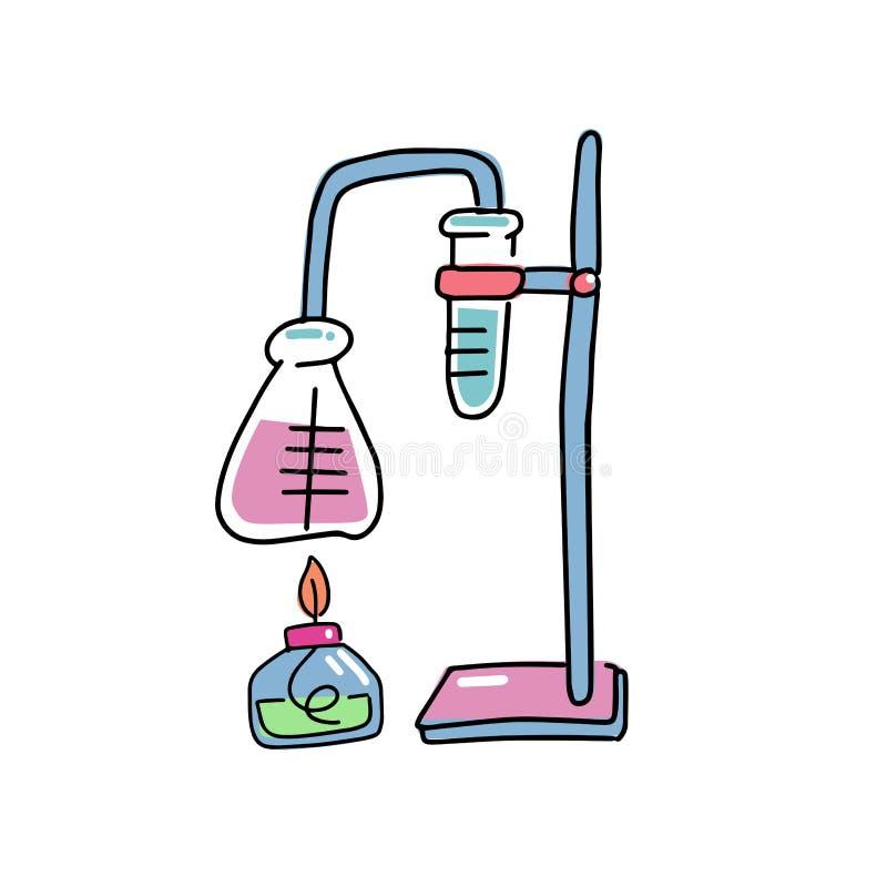 Линия иллюстрация эскиза Doodle руки вычерченная вектора искусства стеклянных химических реторт и пробирок Защитный workwear, кот иллюстрация штока