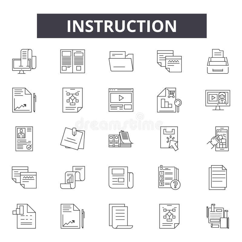 Линия инструкции значки, знаки, набор вектора, концепция иллюстрации плана иллюстрация вектора