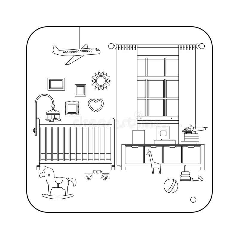 Линия интерьер комнаты младенца бесплатная иллюстрация