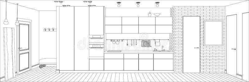Линия интерьер кухни иллюстрация штока