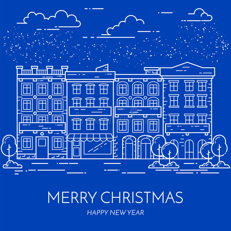 Линия искусство ландшафта улицы города Нового Года Chrismas зимы плоская иллюстрация штока