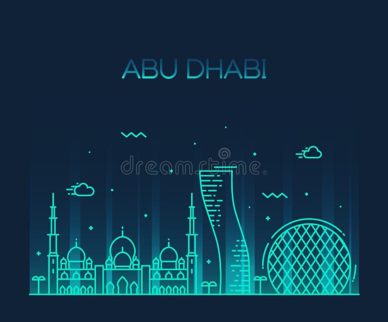 Линия искусство вектора горизонта города Абу-Даби ультрамодная иллюстрация штока