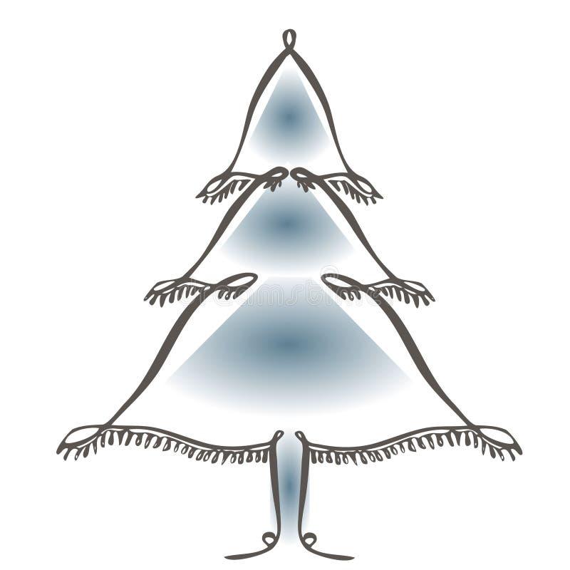 Линия искусство значка вектора рождественской елки С Новым Годом! 2019 поздравительных открыток с серебряными номерами и рамка Co бесплатная иллюстрация