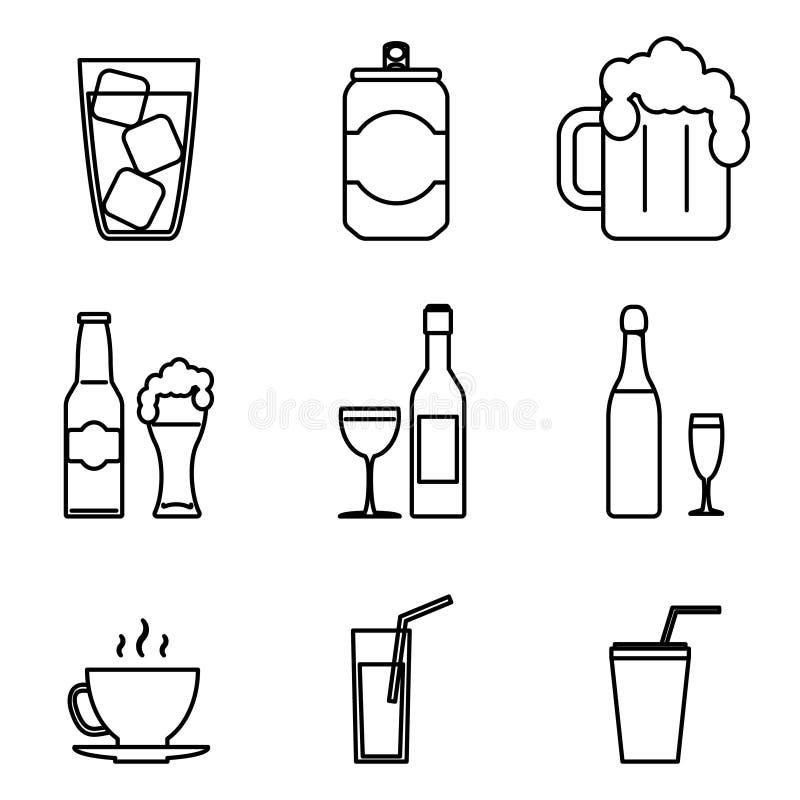 Линия искусство значков питья изолировала установленную иллюстрацию вектора иллюстрация штока