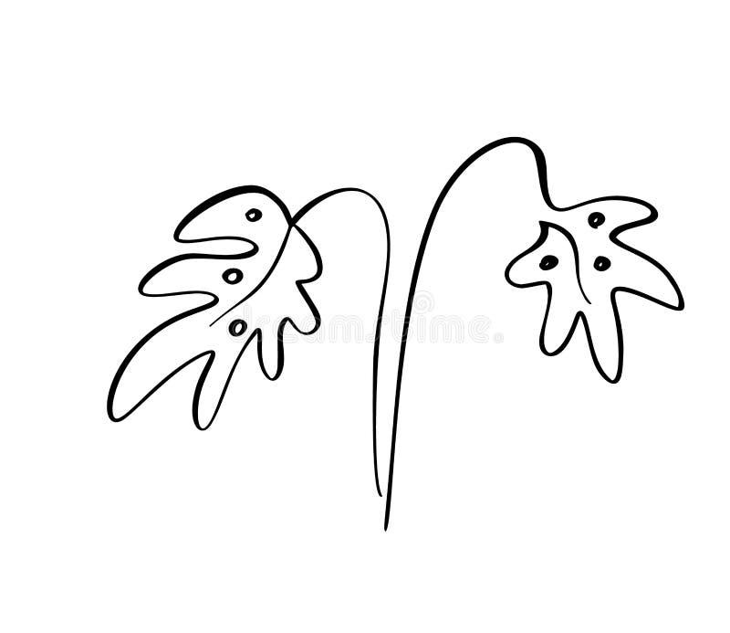 Линия искусство иллюстрации вектора лист Monstera тропическая Чертеж руки контура Искусство минимализма Современное оформление бесплатная иллюстрация