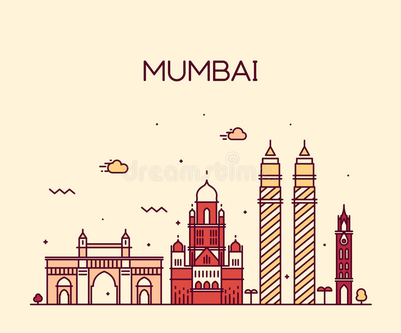 Линия искусство иллюстрации вектора горизонта города Мумбая иллюстрация штока