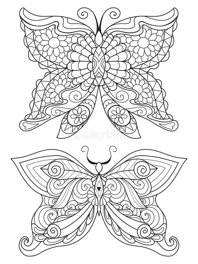 Линия искусство 2 красивых butterfiles для элемента дизайна и страницы книжка-раскраски также вектор иллюстрации притяжки corel иллюстрация вектора