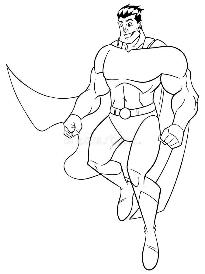 Линия искусство летания супергероя счастливая бесплатная иллюстрация