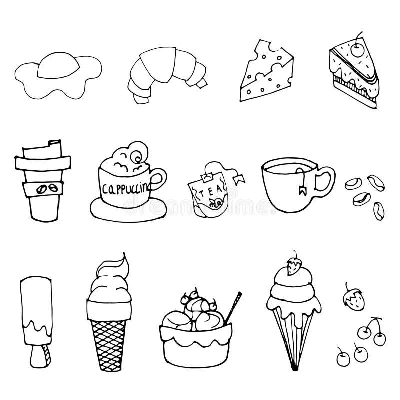Линия искусство меню кофейни вручную нарисованная еды и предпосылки питья черным по белому бесплатная иллюстрация