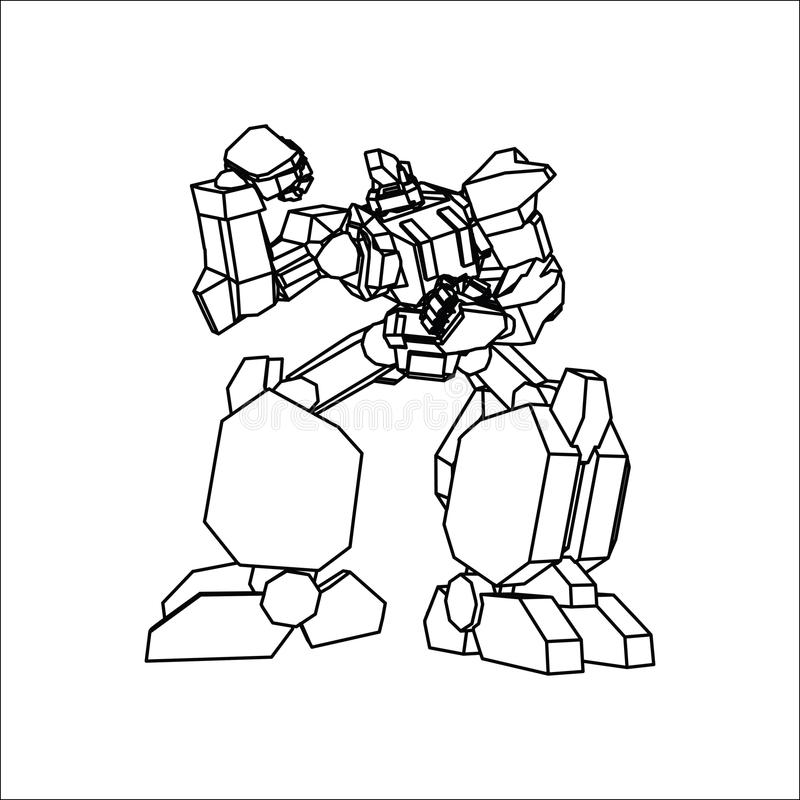 Линия искусство робота иллюстрация вектора