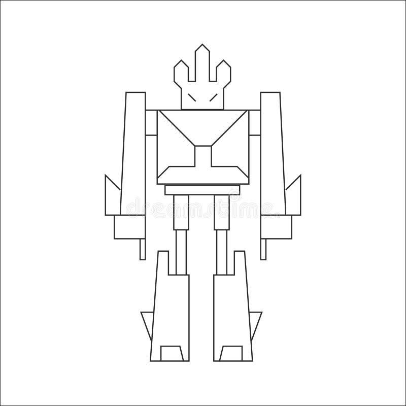 Линия искусство робота бесплатная иллюстрация