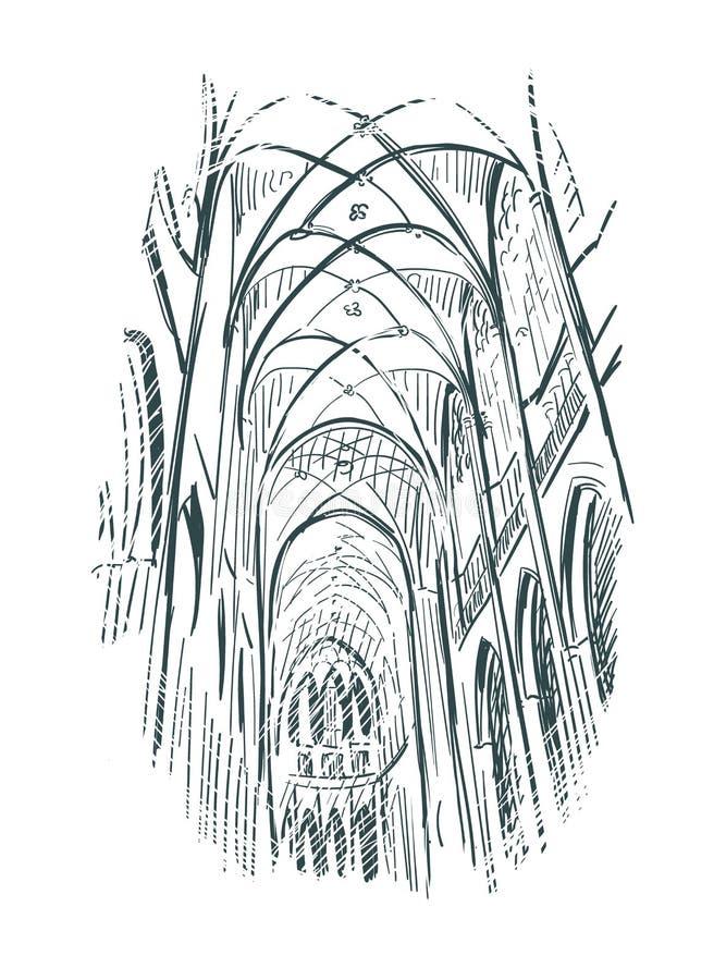 Линия искусство церков иллюстрации эскиза крытая иллюстрация вектора