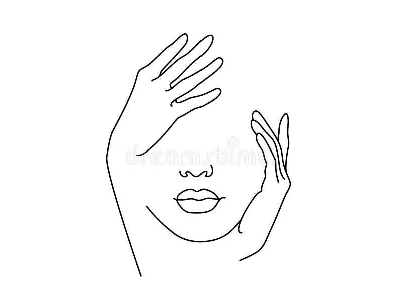 Линия искусство чертежа Сторона женщины с рукой иллюстрация вектора