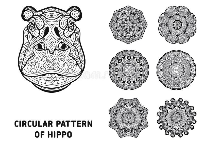 Линия искусство элемент конструкции ваш Голова гиппопотама иллюстрация штока