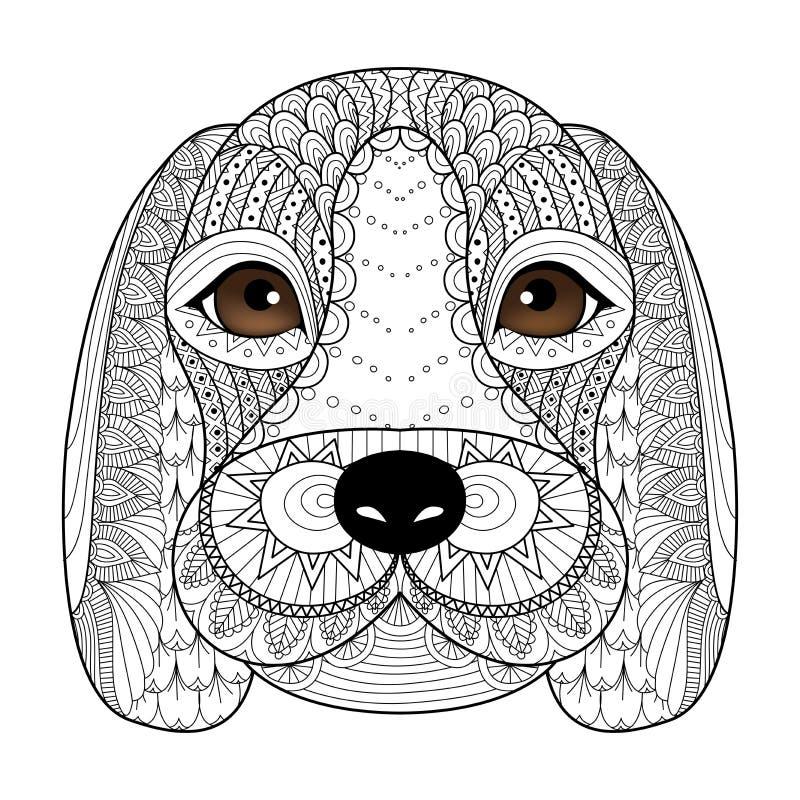 Линия искусство для книжка-раскраски для взрослого, дизайн щенка бигля футболки, татуирует и так далее иллюстрация штока