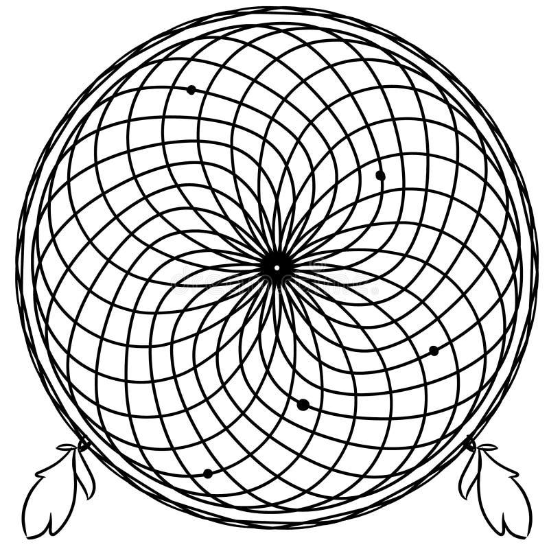 Линия искусство Dreamcatcher иллюстрация вектора