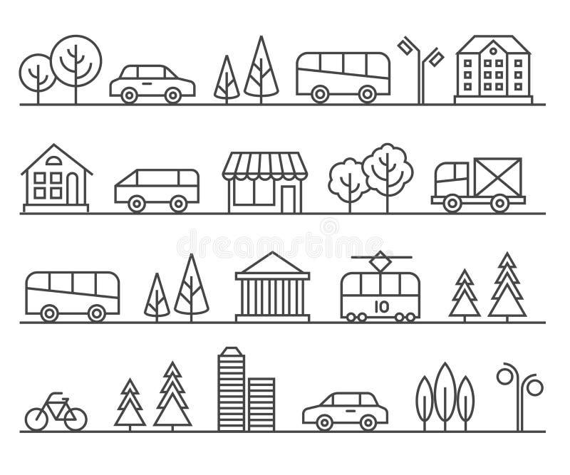 Линия иллюстрация города вектор ландшафта урбанский иллюстрация вектора