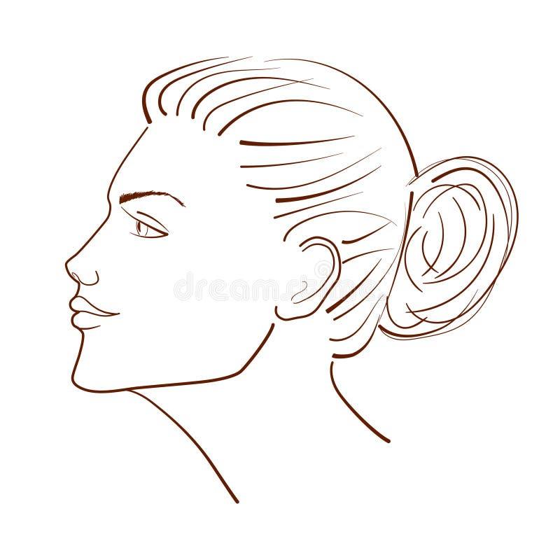 Линия иллюстрация красивой стороны женщины от взгляда профиля бесплатная иллюстрация