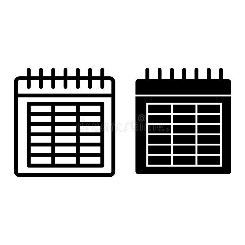 Линия календаря и значок глифа Иллюстрация вектора даты изолированная на белизне Дизайн стиля плана месяца, конструированный для  иллюстрация вектора