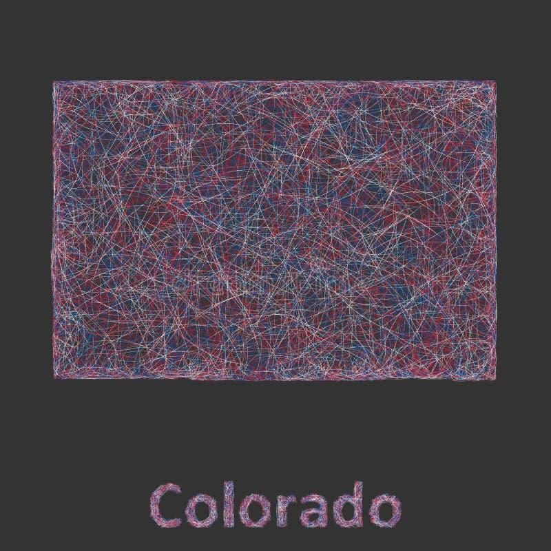 Линия карта Колорадо искусства иллюстрация вектора