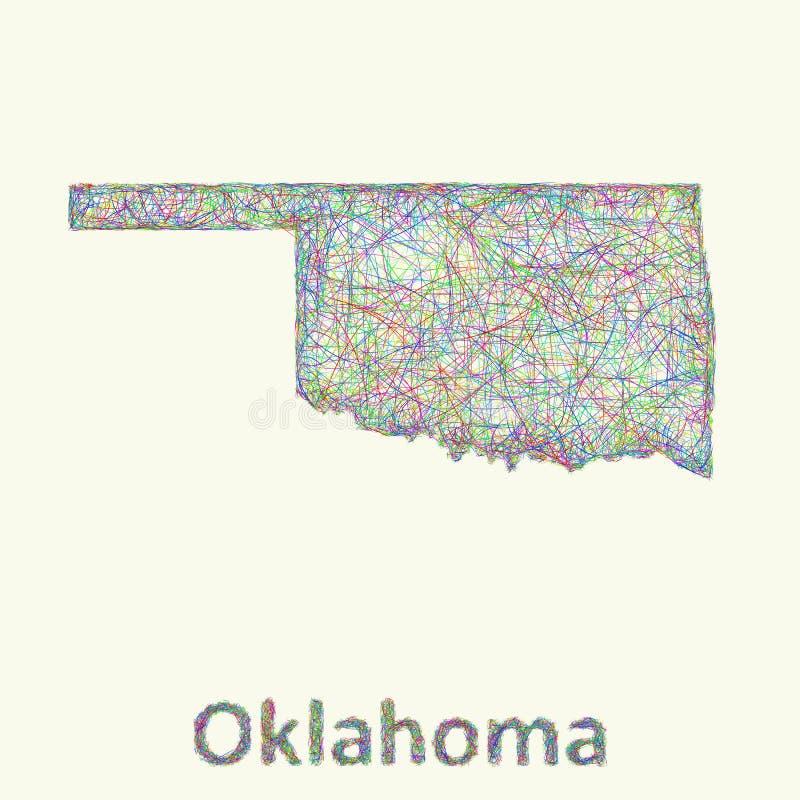 Линия карта Оклахомы искусства бесплатная иллюстрация