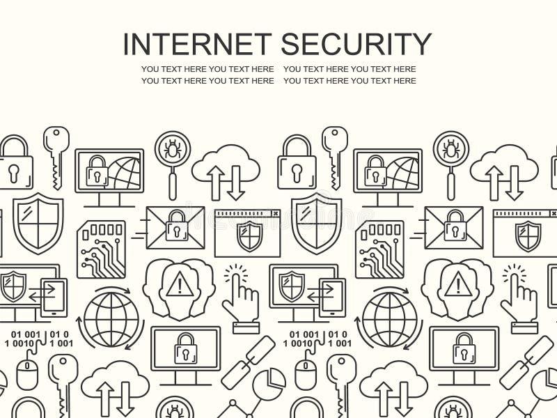 Линия картина вектора безопасностью интернета стиля безшовная Концепция защиты данных линейная Уединение сети и предпосылка outlu иллюстрация штока