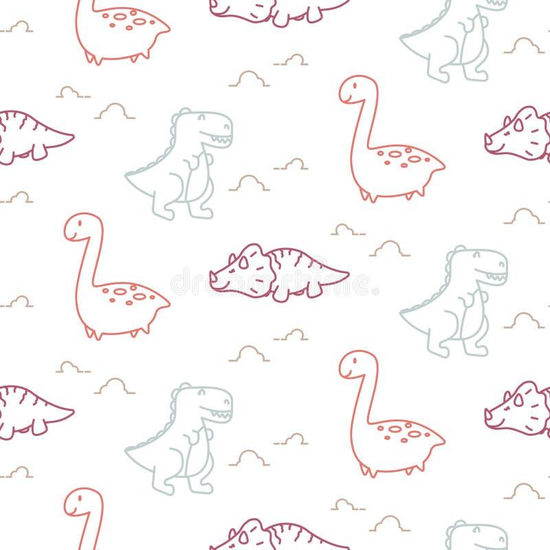 Линия картина динозавров вектора милого младенца стиля безшовная бесплатная иллюстрация