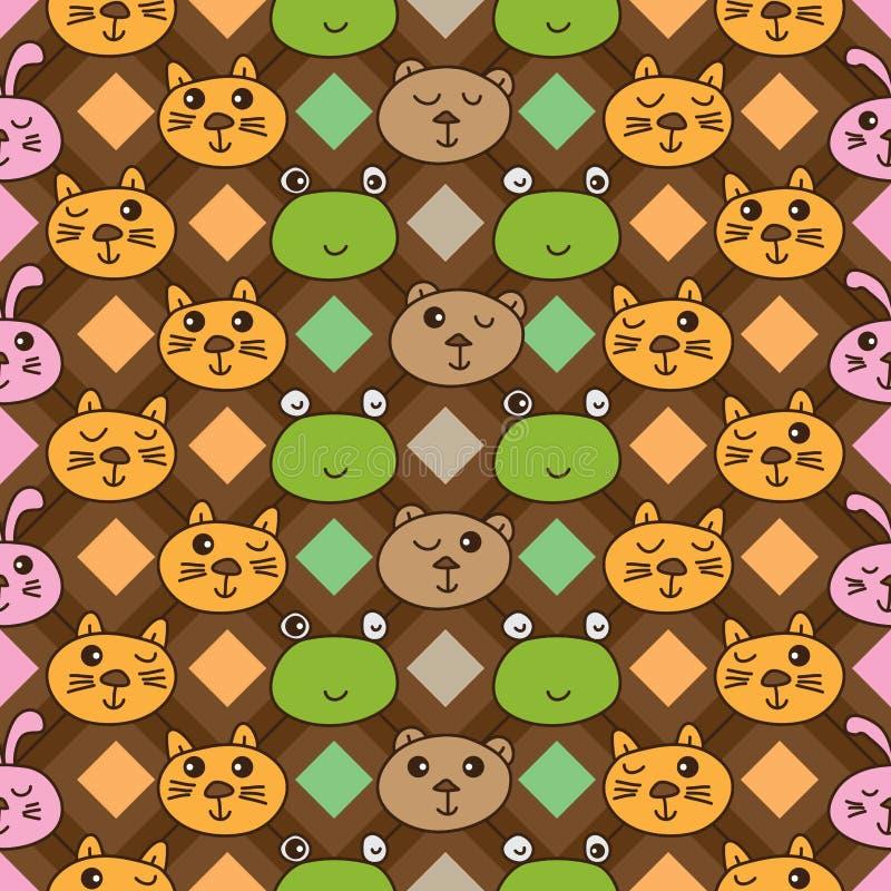 Линия картина диаманта медведя кролика forg кота вертикальная безшовная иллюстрация вектора