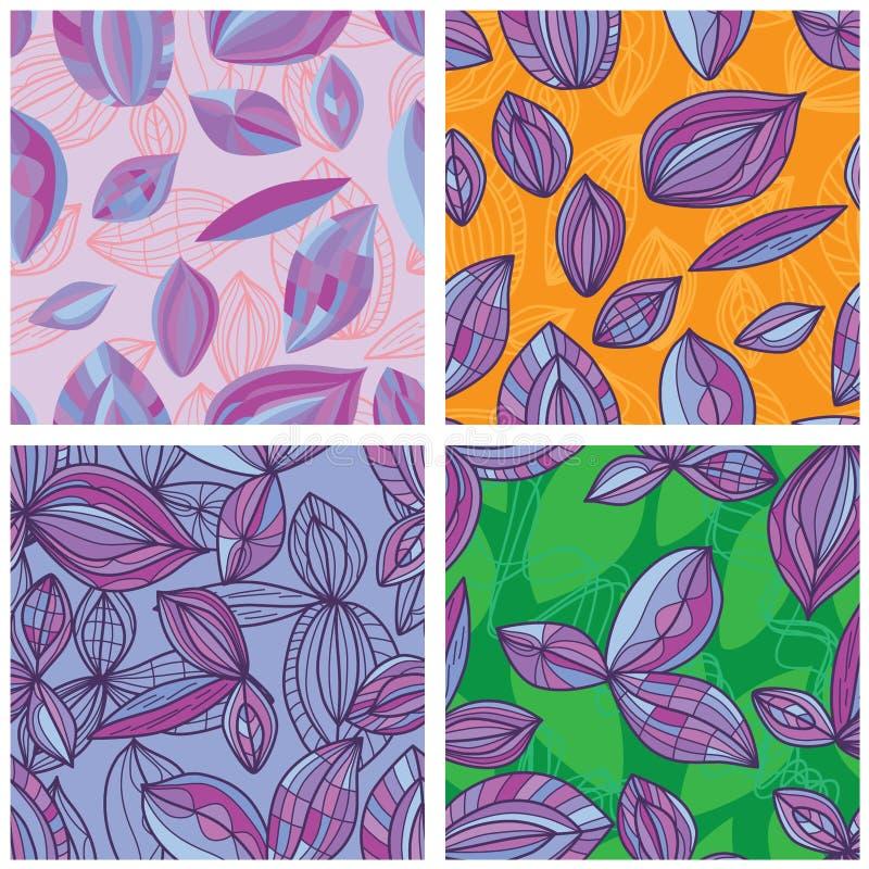 Линия картина лист пурпура установленная безшовная бесплатная иллюстрация
