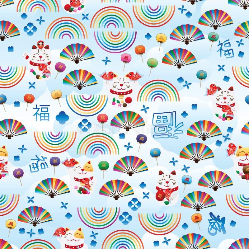Линия картина радуги Maneki Neko небесно-голубая Fu вентилятора безшовная иллюстрация вектора