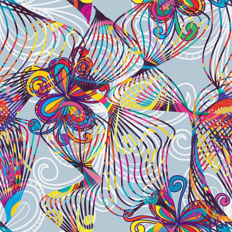 Линия картина цветка танцев красочная безшовная бесплатная иллюстрация