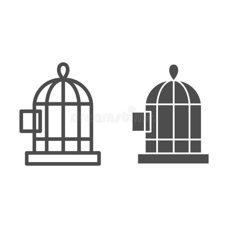 Линия клетки птицы и значок глифа Иллюстрация вектора клетки изолированная на белизне Дизайн стиля плана Birdcage, конструированн иллюстрация вектора
