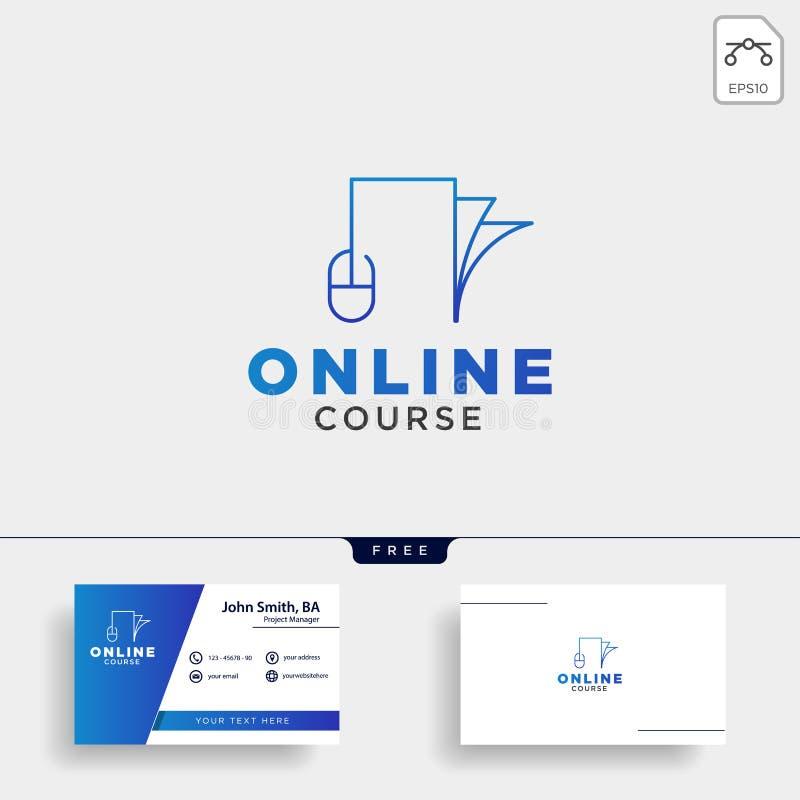 линия книги мыши, онлайн уча линия элемент значка иллюстрации вектора шаблона логотипа стоковые изображения