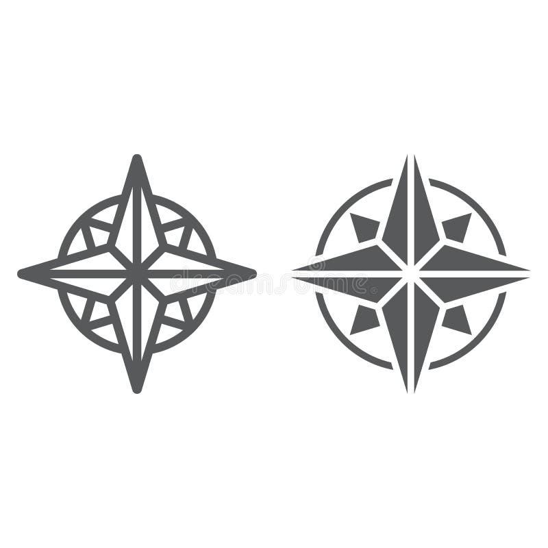 Линия компаса и значок глифа, навигатор иллюстрация штока