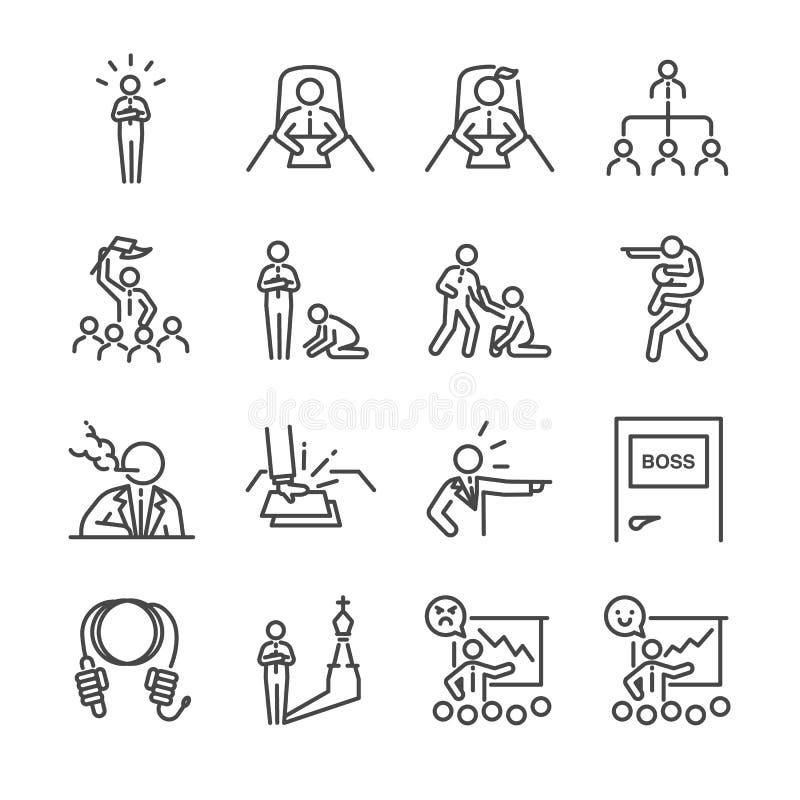 Линия комплект босса значка Включил значки как руководитель, команда, bossy, команда, менеджер, вождь и больше иллюстрация штока
