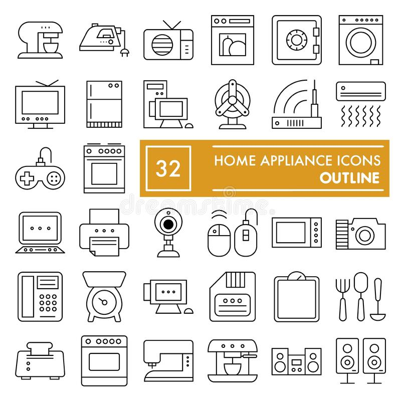 Линия комплект бытового устройства тонкая значка, символы собрание домочадца, эскизы вектора, иллюстрации логотипа, электрические иллюстрация штока